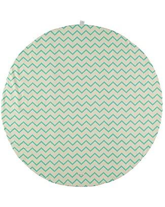 Nobodinoz Apache Round Carpet Small, Zig Zag Green - Organic cotton Blankets