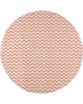 Nobodinoz Apache Round Carpet Small, Zig Zag Pink- Organic cotton Blankets