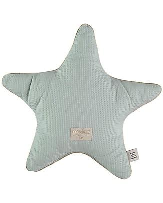 Nobodinoz Aristote Star Cushion, Aqua - 40 cm -  Organic cotton Cushions