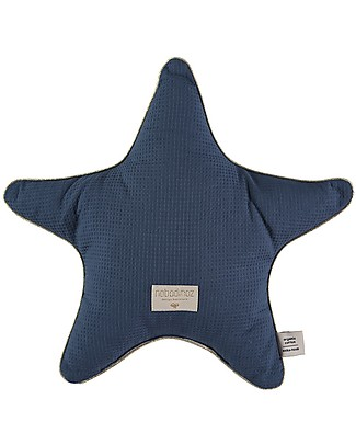 Nobodinoz Aristote Star Cushion, Night Blue - 40 cm -  Organic cotton Cushions