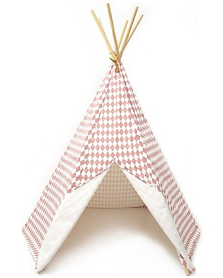 Nobodinoz Arizona Teepee, Diamonds Pink - Organic cotton and pine wood Tepees & Tents