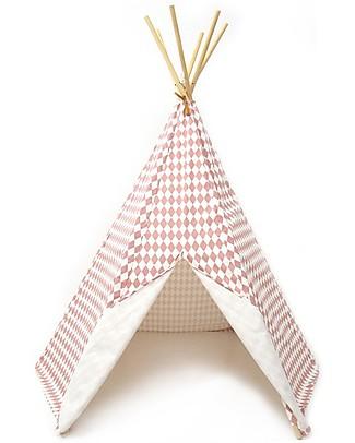Nobodinoz Arizona Teepee, Diamonds Pink - Organic cotton and pine wood Tepees & Tents