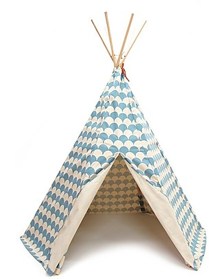 Nobodinoz Arizona Teepee, Scales Blue - Organic cotton and pine wood Tepees & Tents