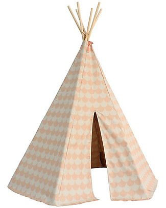 Nobodinoz Arizona Teepee, Scales Pink - Organic cotton and pine wood Tepees & Tents
