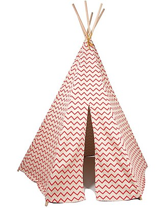 Nobodinoz Arizona Teepee, Zig Zag Pink - Organic cotton and pine wood Tepees & Tents