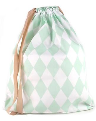 Nobodinoz Backpack Florencia, Green Diamonds - Organic cotton Small Backpacks