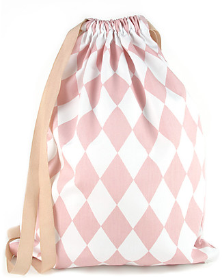 Nobodinoz Backpack Florencia, Pink Diamonds - Organic cotton Small Backpacks