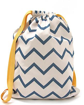 Nobodinoz Backpack Florencia, Zig Zag Blue - Organic cotton Small Backpacks