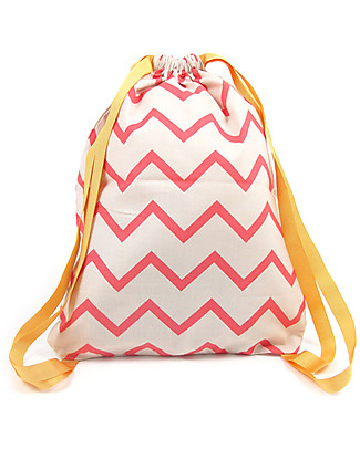Nobodinoz Backpack Florencia, Zig Zag Pink - Organic cotton Small Backpacks
