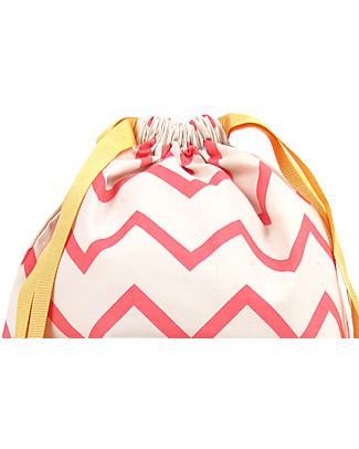 Nobodinoz Backpack Florencia, Zig Zag Pink - Organic cotton Small Backpacks
