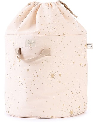 Nobodinoz Bamboo Toy Bag Large, Gold Stella/Dream Pink - Organic cotton Toy Storage Boxes