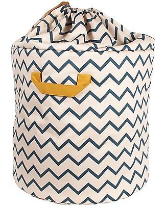 Nobodinoz Baobab Toy Bag Large, Zig Zag Blue - Organic cotton Small Backpacks