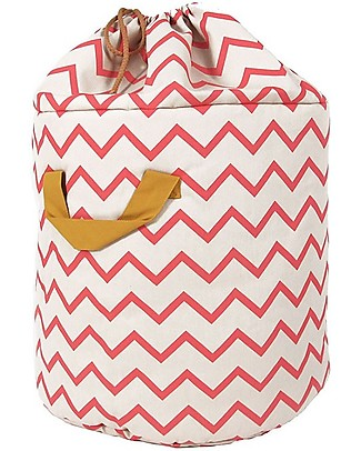 Nobodinoz Baobab Toy Bag Large, Zig Zag Pink - Organic cotton Toy Storage Boxes