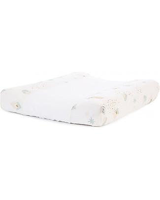 Nobodinoz Calma Changing Mat & Cover, Aqua Eclipse/White - 70x50x10 cm - Organic Cotton Changing Tables