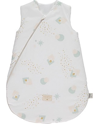 Nobodinoz Cocoon Small Sleeping Bag, Aqua Eclipse/White - Organic cotton Warm Sleeping Bags