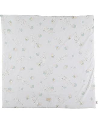 Nobodinoz Colorado Square Playmat, Aqua Eclipse/White - Organic cotton Carpets