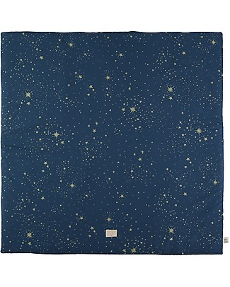 Nobodinoz Colorado Square Playmat, Gold Stella/Night Blue - 100x100 cm - Organic cotton Carpets
