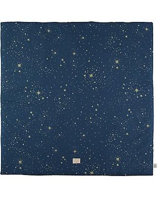 Nobodinoz Colorado Square Playmat, Gold Stella/Night Blue - Organic cotton Carpets