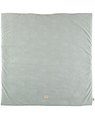 Nobodinoz Colorado Square Playmat, White Bubble/Aqua - Organic cotton Carpets