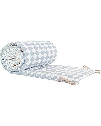 Nobodinoz Constantinopla Cot Bumper, Blue Diamonds - Organic cotton Bumpers