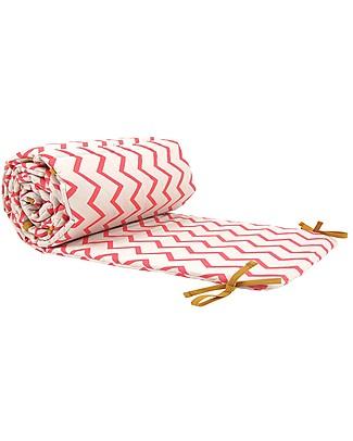 Nobodinoz Constantinopla Cot Bumper, Pink Zig Zag- Organic cotton Bumpers
