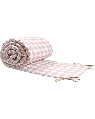 Nobodinoz Constantinople Cot Bumper, Pink Diamonds - Organic cotton Bumpers