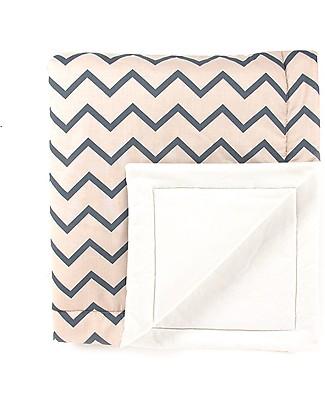 Nobodinoz Copenhagen Blanket 100x145 cm, Blue Zig Zag  - Organic cotton Blankets