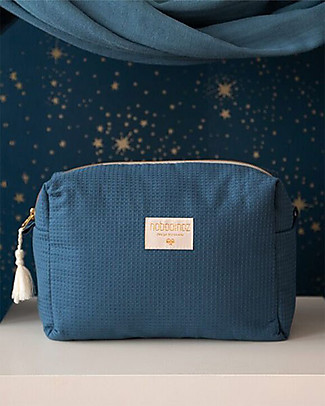 Nobodinoz Diva Waterproof Vanity Case, Night Blue - 16x25x10 cm - Organic Cotton Makeup Bags & Pouches