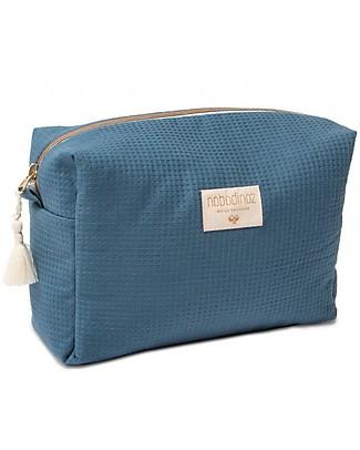 Nobodinoz Diva Waterproof Vanity Case, Night Blue - 16x25x10 cm - Organic Cotton Makeup Bags & Pouches