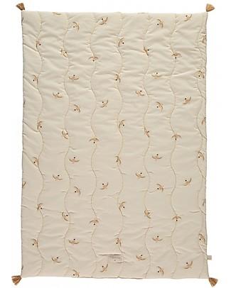 Nobodinoz Fuji Small Duvet 70x100 cm, Nude Haiku Birds/Natural  - Organic cotton Blankets