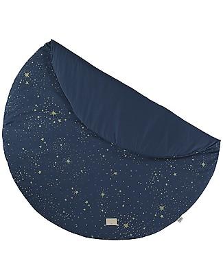 Nobodinoz FullMoon Small Round Playmat, Gold Stella/Night Blue - 105 cm - Organic cotton Carpets