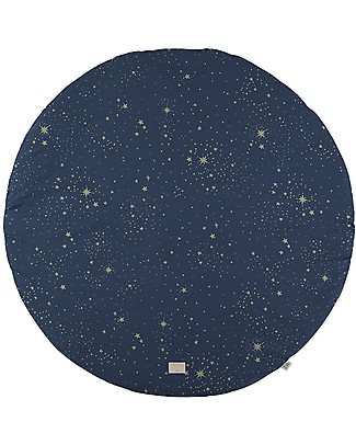 Nobodinoz FullMoon Small Round Playmat, Gold Stella/Night Blue - Organic cotton Carpets