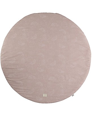 Nobodinoz FullMoon Small Round Playmat, White Bubble/Misty Pink - 105 cm - Organic cotton Carpets
