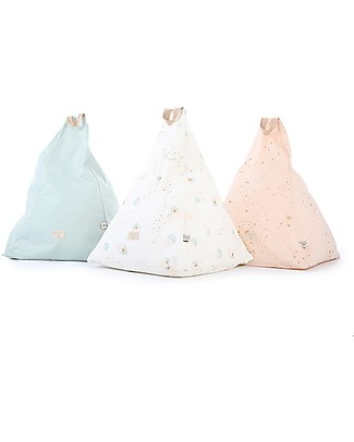 Nobodinoz Kids Bean-bag Keops, White Bubble/Aqua - Cotton Cushions