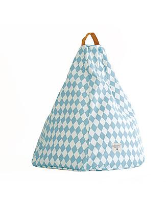 Nobodinoz Kids Bean-bag Marrakech, Blue Diamonds - Organic cotton Cushions