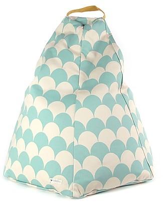 Nobodinoz Kids Bean-bag Marrakech, Green Scales - Organic cotton Cribs & Moses Baskets