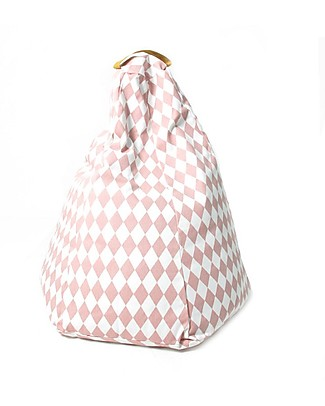 Nobodinoz Kids Bean-bag Marrakech, Pink Diamonds - Organic cotton Cushions