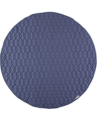 Nobodinoz Kiowa Quilted Round Carpet, Aegean Blue - 105 cm - Organic cotton Carpets