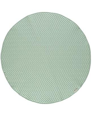 Nobodinoz Kiowa Quilted Round Carpet, Provence Green - 105 cm - Organic cotton Carpets
