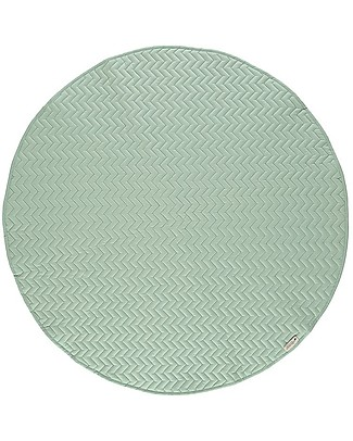 Nobodinoz Kiowa Quilted Round Carpet, Provence Green - Organic cotton Carpets