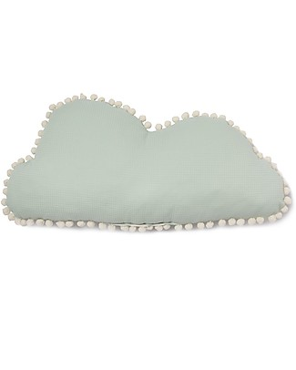 Nobodinoz Marshmallow Cloud Cushion, Aqua - 30x58 cm -  Organic cotton Cushions
