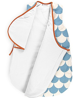 Nobodinoz Montreal Sleeping Bag 1,7 Tog, Blue Scales (3-6 months) - Organic cotton Warm Sleeping Bags