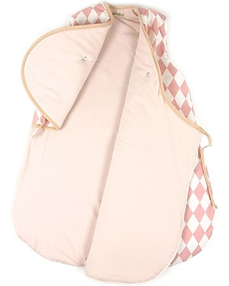 Nobodinoz Montreal Sleeping Bag 1,7 Tog, Pink Diamonds (7-24 months) - Organic cotton Warm Sleeping Bags