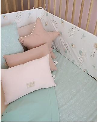 Nobodinoz Nest Cot Bumper, Aqua Eclipse/White - Organic cotton Bumpers