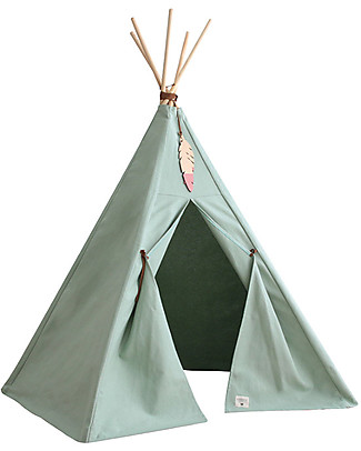 Nobodinoz Nevada Teepee, Provence Green - Organic cotton and wood Tepees & Tents