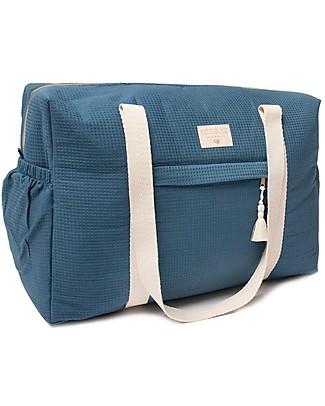 Nobodinoz Opera  Waterproof Maternity Bag, Night Blue - Organic cotton Diaper Changing Bags & Accessories