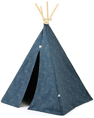 Nobodinoz Phoenix Teepee, Gold Bubble/Night Blue - Organic cotton and pine wood Tepees & Tents