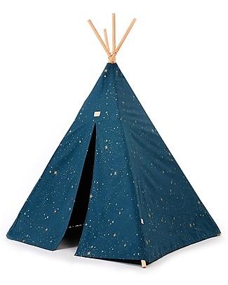 Nobodinoz Phoenix Teepee, Gold Stella/Night Blue - Organic cotton and pine wood Tepees & Tents