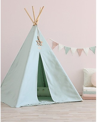 Nobodinoz Phoenix Teepee, White Bubble/Aqua - Organic cotton and pine wood Tepees & Tents