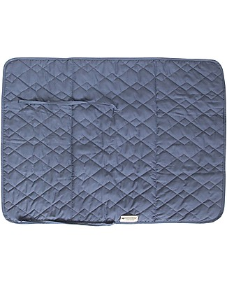Nobodinoz Quilted Portable Changing Pad Marbella, Aegean Blu - Organic cotton and bamboo Travel Changing Mats